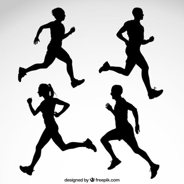 Silhuetas runner Vetor Premium