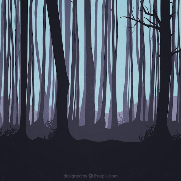 Silhuetas troncos na floresta Vetor grátis