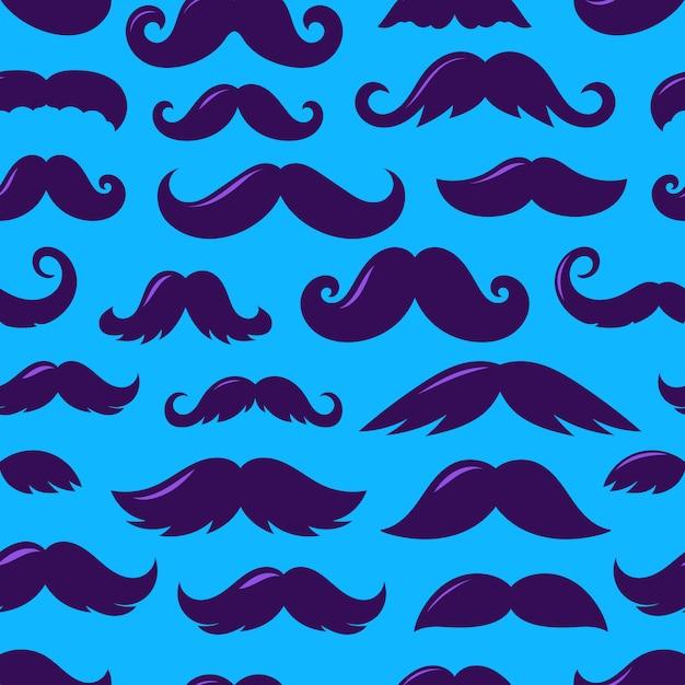 Silhuetas violetas de padrão sem emenda de vetor de bigode Vetor Premium