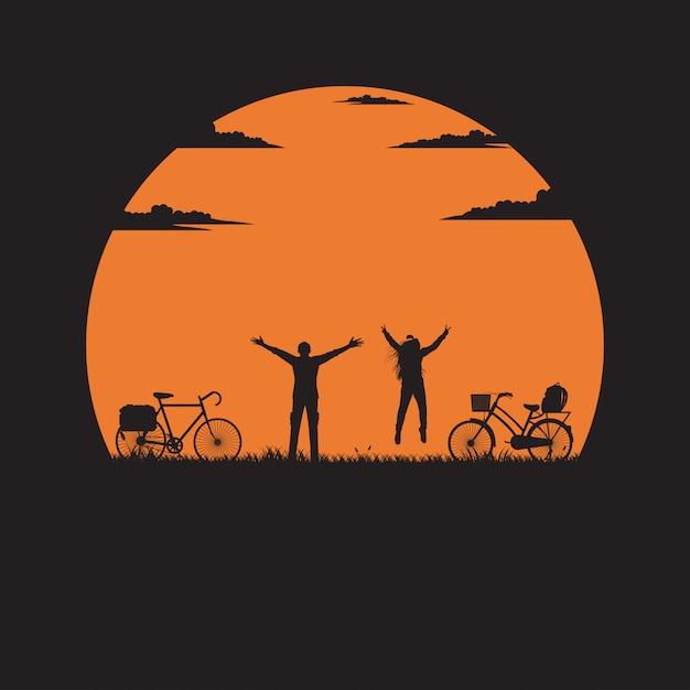 Silueta, a, homem mulher, levantar, levantar mão, ligado, prado, com, a, pôr do sol Vetor Premium