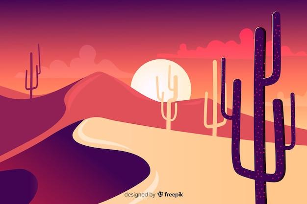 Silueta, de, cacto, e, dunas Vetor grátis