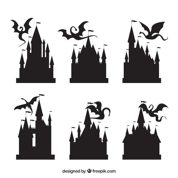 Silueta, de, castelo, e, voando, dragão, cobrança Vetor Premium
