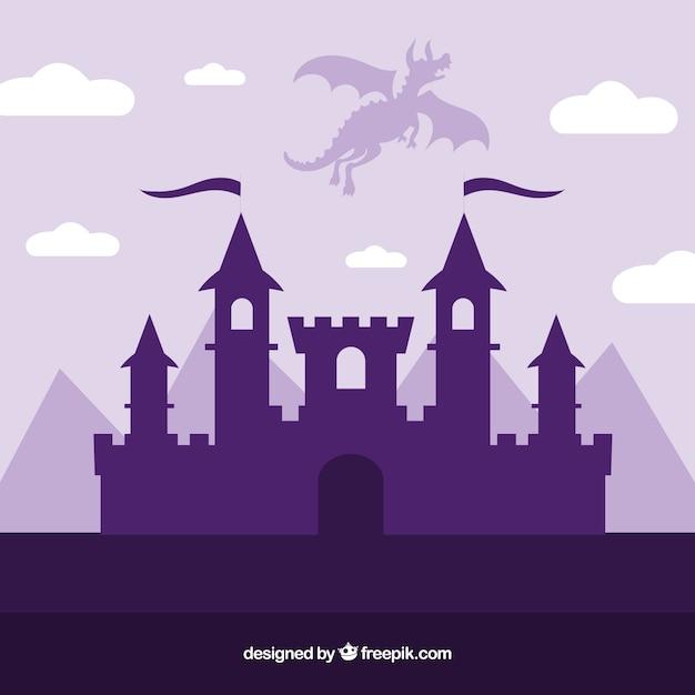 Silueta, de, castelo, e, voando, dragão Vetor grátis
