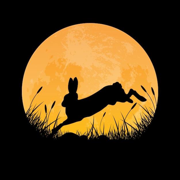 Silueta, de, coelho, pular, sobre, campo grama Vetor Premium