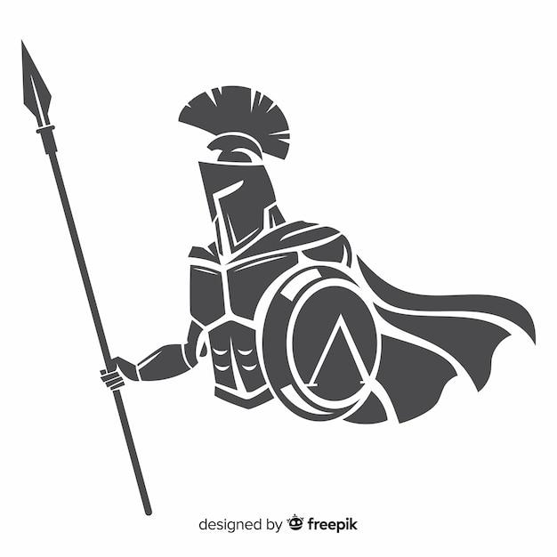 Silueta, de, espartano, guerreiro, com, dardo Vetor Premium