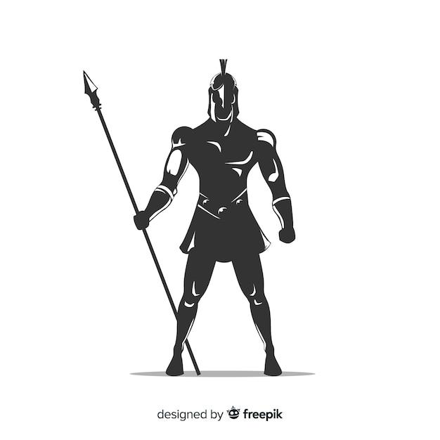 Silueta, de, espartano, guerreiro, com, dardo Vetor grátis