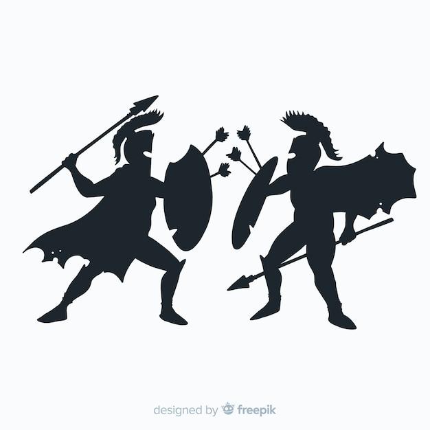Silueta, de, espartanos, guerreiros, luta Vetor grátis