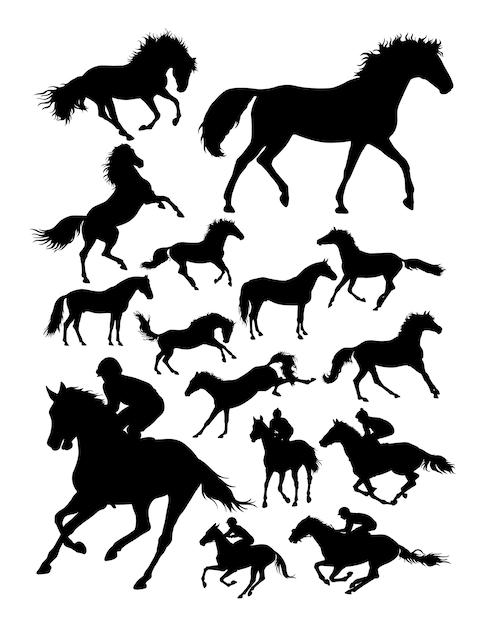 Silueta, de, jóquei, e, cavalo Vetor Premium