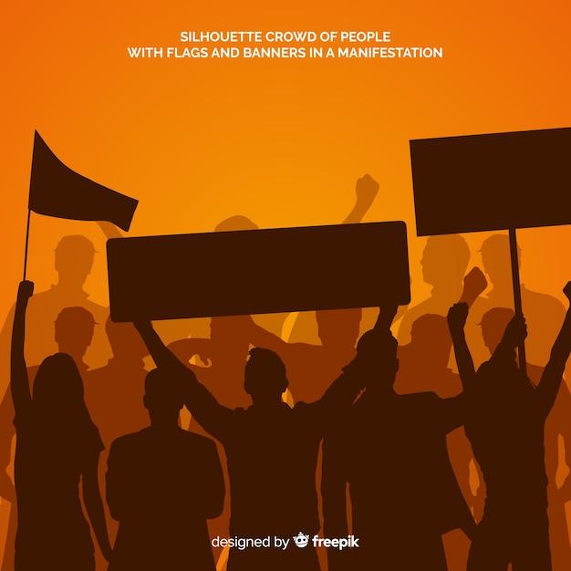 Silueta, de, pessoas, em, um, demonstração Vetor grátis