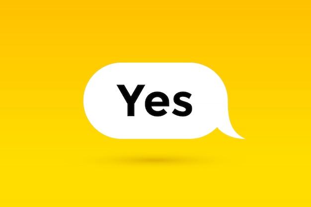 Sim. , balão, cartaz e adesivo conceito Vetor Premium
