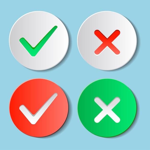 Sim e não marcas de verificação no círculo Vetor Premium
