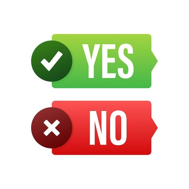 Sim e nenhuma ilustração do botão Vetor Premium