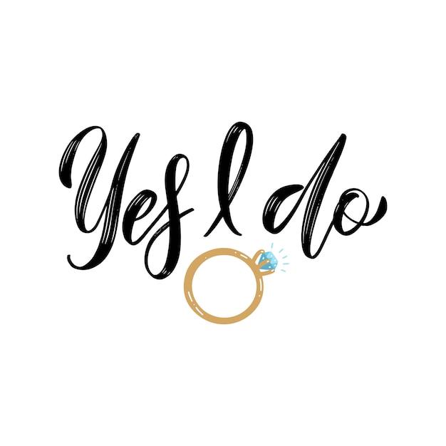 Sim, faço proposta de cotação. design de letras de anel de diamante de noivado para festa de chá de panela Vetor Premium