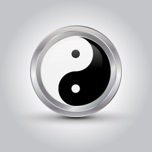 Símbolo brilhante de ying yang Vetor Premium