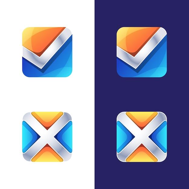 Símbolo colorido, ícone, logotipo certo e errado, modelo de logotipo inicial letra x e v Vetor Premium