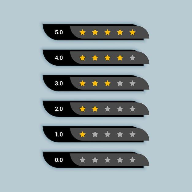 Símbolo criativo de classificação por estrelas para tema preto Vetor grátis