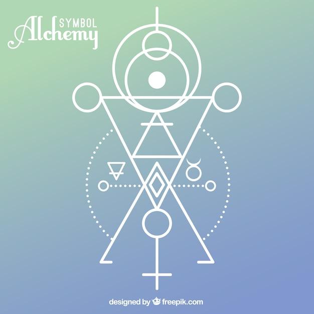 Símbolo da alquimia com formas geométricas Vetor grátis