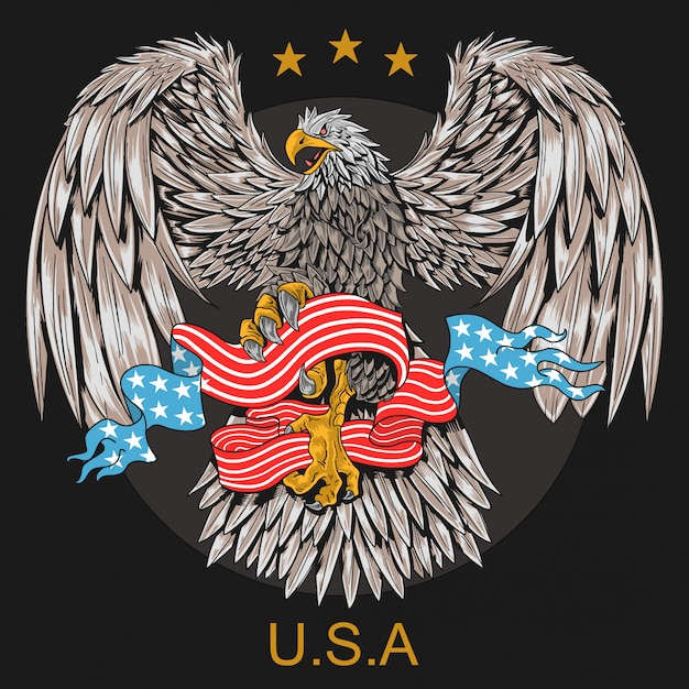 Símbolo de águia dos eua Vetor Premium