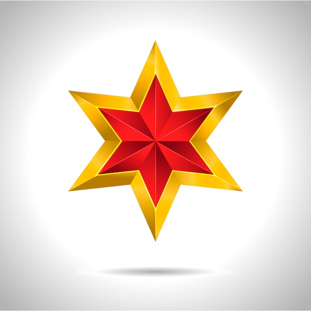 Símbolo de arte ouro ilustração estrela vermelha Vetor Premium