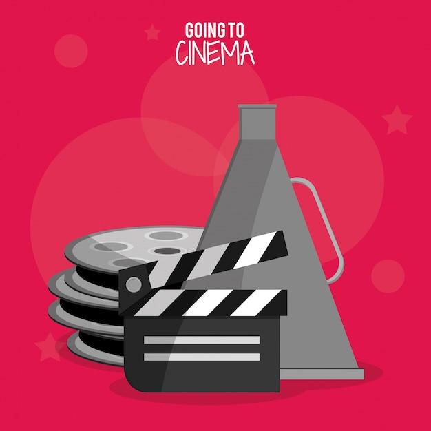 Símbolo de bobina de filme de cinema Vetor Premium