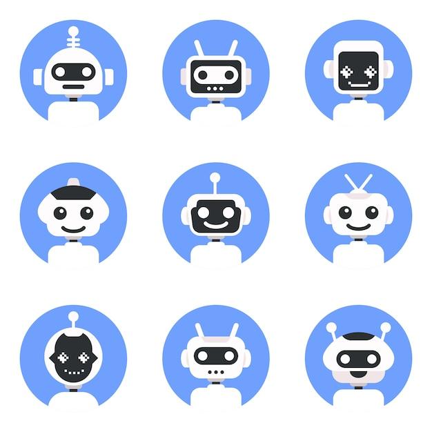 Símbolo de chatbot, modelo de logotipo. conjunto de ícones de robô. design de sinal de bot. ilustração lisa do personagem de banda desenhada do estilo moderno do vetor. Vetor Premium