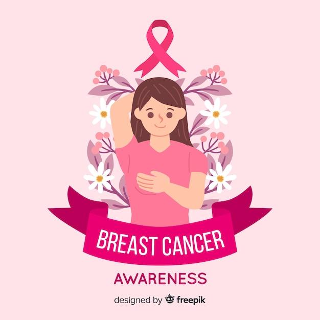 Símbolo de conscientização de câncer de mama com caráter de mulher Vetor grátis