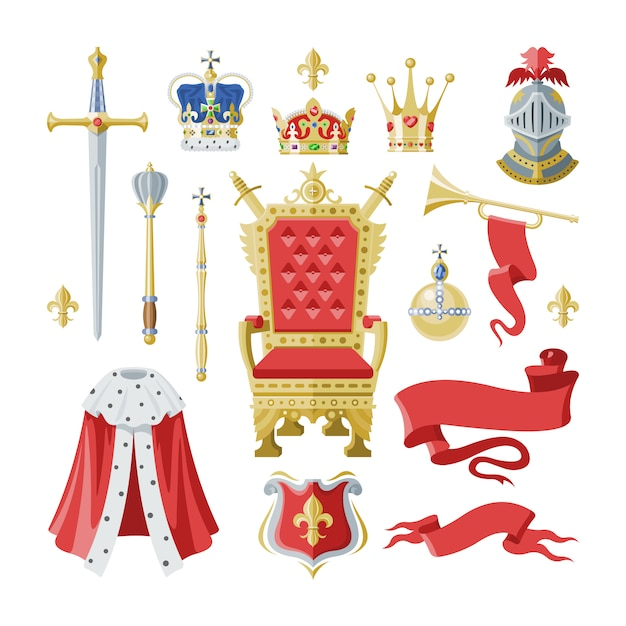Símbolo de coroa real de realeza dourada do rei rainha e princesa ilustração sinal de coroar o príncipe autoridade conjunto de cavaleiro capacete e trono em fundo branco Vetor Premium
