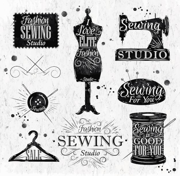 Símbolo de costura no manequim de rotulação vintage retrô, bobina, pinos, cabides, botões Vetor Premium