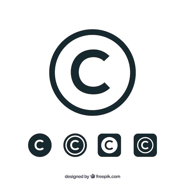 Símbolo de direitos autorais em estilo plano Vetor grátis