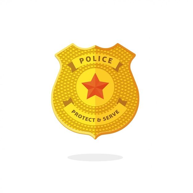 Símbolo de distintivo de metal de polícia isolado Vetor Premium