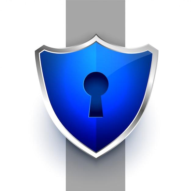 Símbolo de escudo de segurança azul com fechadura com chave Vetor grátis