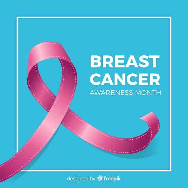 Símbolo de fita rosa de câncer de mama em fundo azul Vetor grátis
