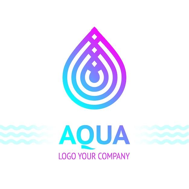 Símbolo de gota de água, ícone de modelo de logotipo Vetor Premium