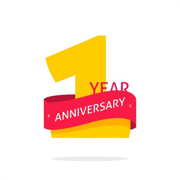 Símbolo de logotipo de aniversário de 1 ano isolado Vetor Premium