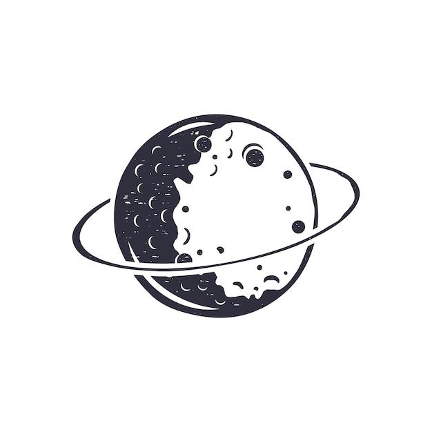 Símbolo de lua desenhada mão vintage. Vetor Premium