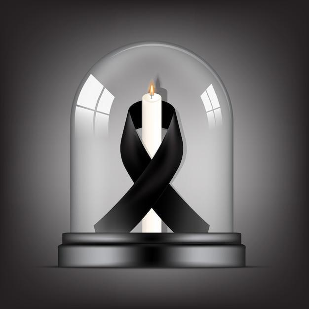 Símbolo de luto com fita rip preto respeito e vela em fundo transparente cúpula de vidro banner. descanse em paz cartão funeral ilustração. Vetor Premium
