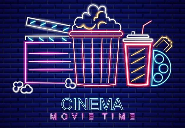 Símbolo de néon de cinema Vetor Premium