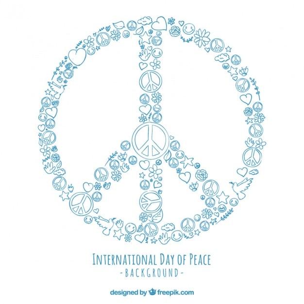 Simbolo De Paz Feito Com Desenhos Vetor Gratis