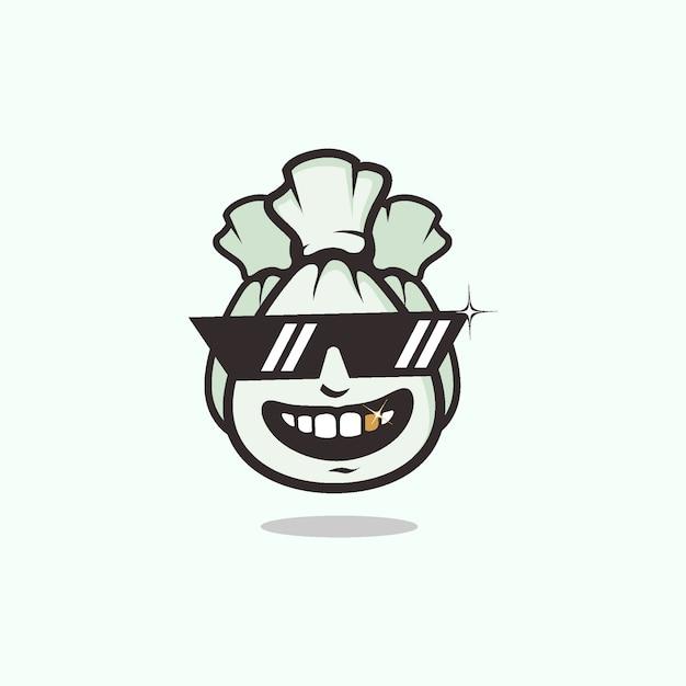 Símbolo de pessoas ricas com saco de dinheiro usando logotipo de mascote de óculos legal Vetor Premium