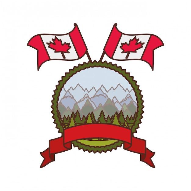 Símbolo de pinheiro e símbolo do canadá Vetor grátis