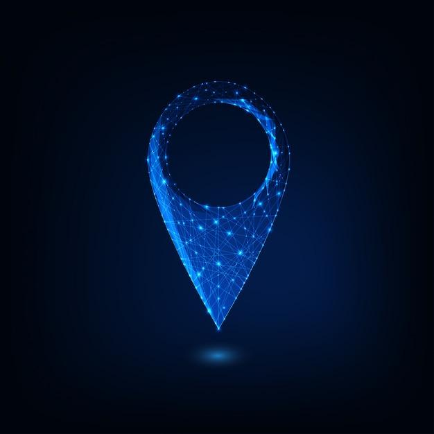 Símbolo de poligonal brilhante baixo futurista isolado em fundo azul escuro. Vetor Premium