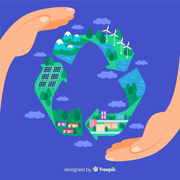 Símbolo de reciclagem plana com campos verdes Vetor grátis