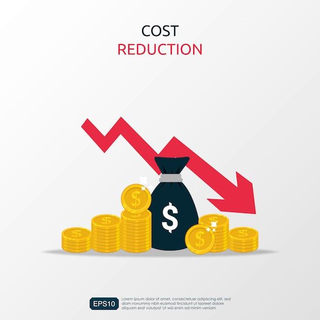 Símbolo de redução de custos com saco de dinheiro e ilustração de curva ou seta descendente. Vetor Premium