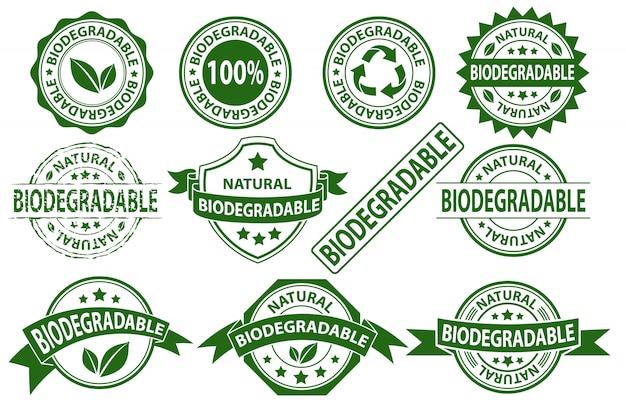 Símbolo de sinal de etiqueta de carimbo de borracha biodegradável, vector conjunto de adesivo compostable Vetor Premium