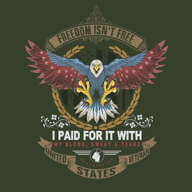 Símbolo de veterano de águia americana Vetor Premium