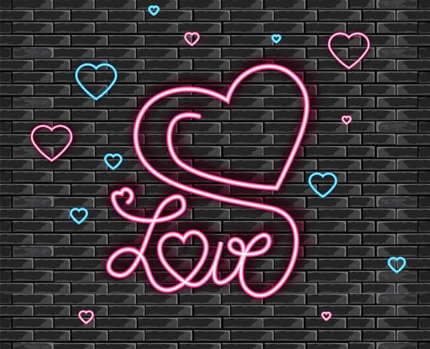Símbolo do amor na luz de néon Vetor Premium