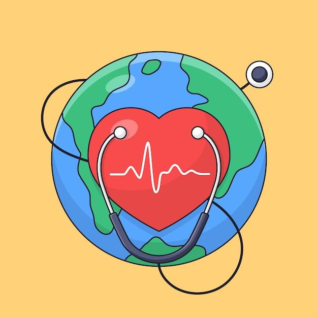 Símbolo do coração com fundo de terra e estetoscópio para o dia mundial do coração cartaz celebração esboço estilo cartoon Vetor Premium