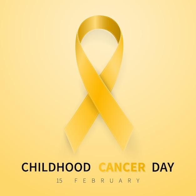 Símbolo do dia do câncer infantil em 15 de fevereiro Vetor Premium