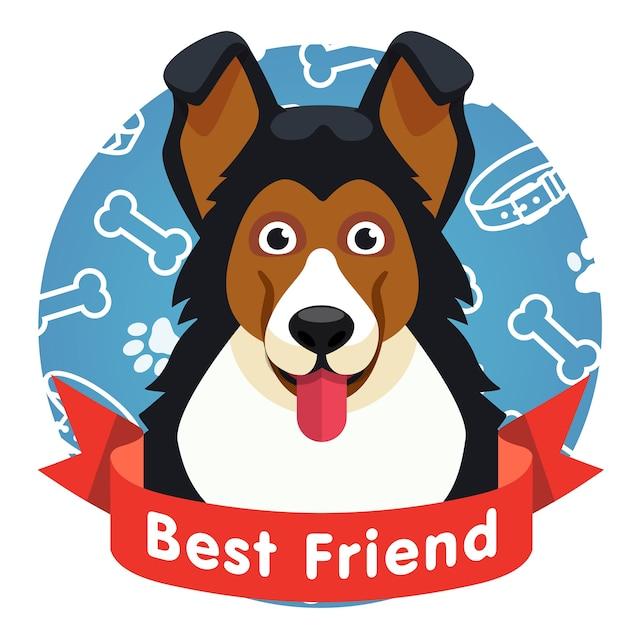 Símbolo do melhor amigo. cara de cachorrinho com fita vermelha Vetor grátis