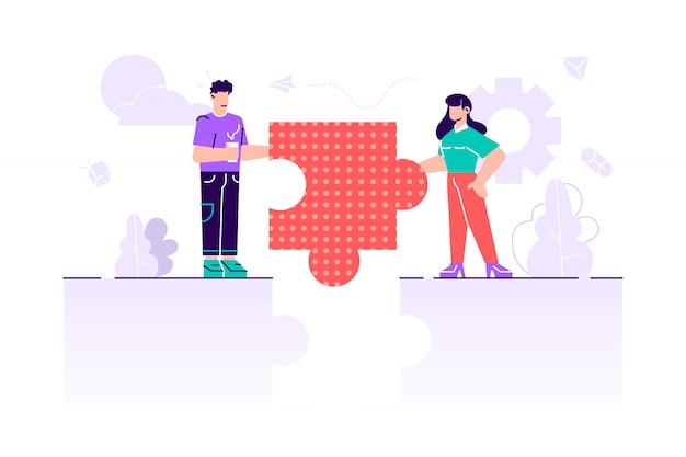 Símbolo do trabalho em equipe, cooperação, conceito de parceria. metáfora da equipe Vetor Premium